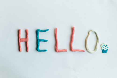 photo of orange yellow and red hello molding clay
